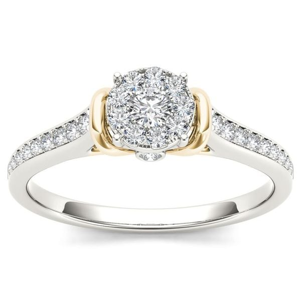De Couer 10k Two-Tone White Gold 1/3ct TDW Diamond Cluster Engagement Ring