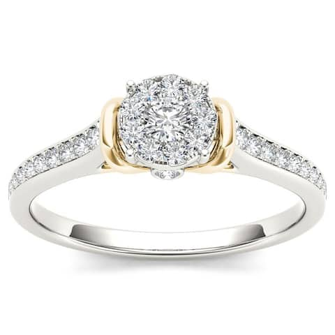 De Couer IGI Certified 10k Two-Tone White Gold 1/3ct TDW Diamond Cluster Engagement Ring
