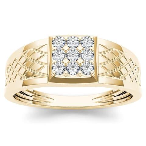 De Couer IGI Certified 10k Yellow Gold 1/3ct TDW Diamond Men's Cluster Ring