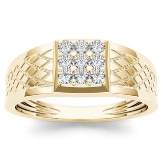 De Couer 10k Yellow Gold 1/3ct TDW Diamond Men's Cluster Ring (H-I, I2)