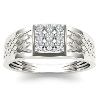 De Couer 10k White Gold 1/3ct TDW Diamond Men's Cluster Ring (H-I, I2)