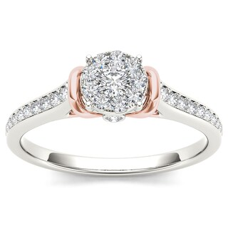 De Couer 10k Two-Tone White Gold 1/3ct TDW Diamond Cluster Engagement Ring (More options available)