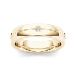 De Couer 14k Yellow Gold 1/8ct TDW Diamond Men's Wedding Band (H-I, I2)
