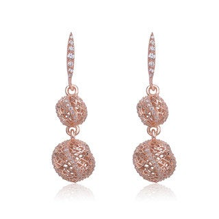 Collette Z Rose-plated Sterling Silver Cubic Zirconia Double Ball Drop Earrings