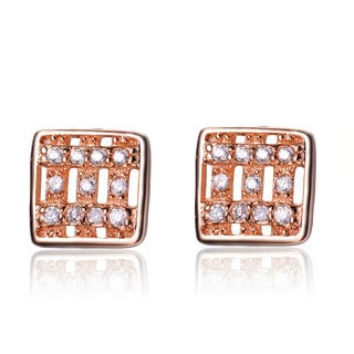 Collette Z Rose-plated Sterling Silver Cubic Zirconia Square Stud Earrings