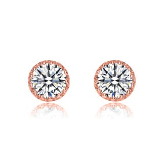 Collette Z Rose-plated Sterling Silver Cubic Zirconia Round Stud Earrings