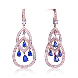 Collette Z Rose-plated Sterling Silver Blue and White Cubic Zirconia Pear Shape Chandelier Earrings