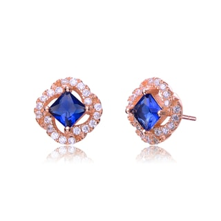 Collette Z Rose-plated Sterling Silver Blue and White Cubic Zirconia Stud Style Earrings
