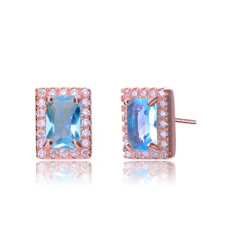Collette Z Rose-plated Sterling Silver Light Blue and White Cubic Zirconia Square Earrings