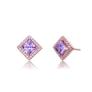 Collette Z Rose-plated Sterling Silver Purple and White Cubic Zirconia Square Earrings