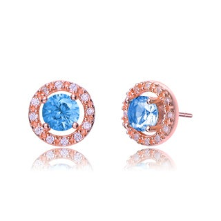 Collette Z Rose-plated Sterling Silver Light Blue and White Cubic Zirconia Round Earrings