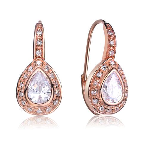 Collette Z Sterling Silver Rose-plated Pear Shape Earrings