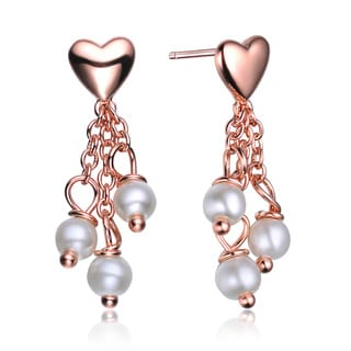 Collette Z Sterling Silver Rose-plated Heart Shape Pearl Drop Earrings