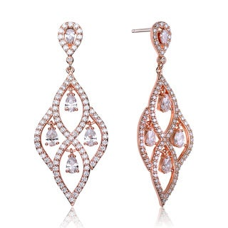 Collette Z Rose-plated Sterling Silver Cubic Zirconia Royal Chandelier Dangle Earrings