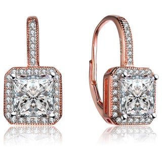 Collette Z Rose-plated Sterling Silver Cubic Zirconia Square Drop Earrings