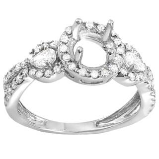 18k White Gold 3/4ct TDW Round and Pear Diamond Semi-mount Engagement Ring (H-I, I1-I2)
