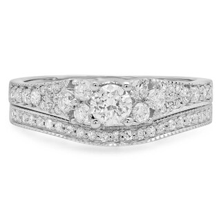 Elora 14k White Gold 1ct TDW Round Diamond Bridal Ring Set (H-I, I1-I2)