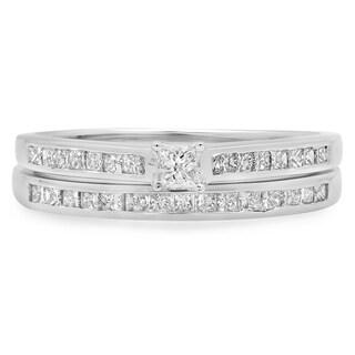 Elora 10k White Gold 3/4ct TDW Brilliant Princess-cut Diamond Bridal Ring Set (H-I, I1-I2)