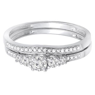 Elora 14k Gold 1/2ct Diamond 5-stone Bridal Ring Set (H-I, I1-I2)