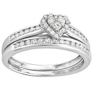 10k White Gold 3/5ct Diamond Heart shaped Bridal Ring Set (H-I, I1-I2)