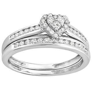 Elora 10k White Gold 3/5ct Diamond Heart shaped Bridal Ring Set (H-I, I1-I2)