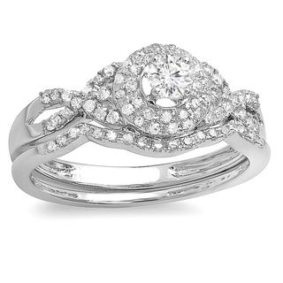 Elora 14k White Gold 1/2ct TDW Diamond Bridal Ring Set (H-I, I1-I2)