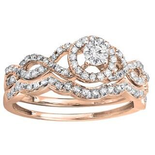 Elora 14k Rose Gold 3/5ct TDW Round Diamond Halo Style Bridal Ring Set