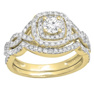 14k White Gold 1ct TDW Round-cut White Diamond Swirl Split Shank Halo Bridal Ring Set (I-J, I1-I2)