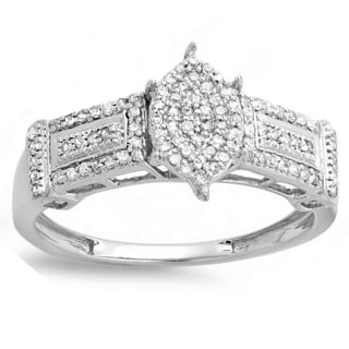 Elora Sterling Silver 1/3ct Marquise-shape Diamond Promise Ring (I-J, I2-I3)
