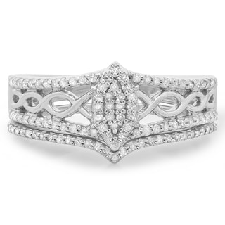 Elora Sterling Silver 1/3ct TDW Round-cut Diamond Marquise-shape Vintage Bridal Ring Set