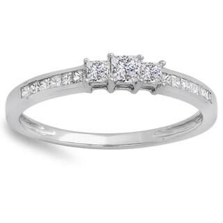 Elora 10k White Gold 1/2ct TDW Princess-cut Diamond Promise Ring (H-I, I1-I2)