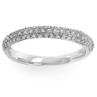 Elora 10k Gold 1/4ct TDW Pave Diamond Anniversary Wedding Band (I-J, I2-I3)