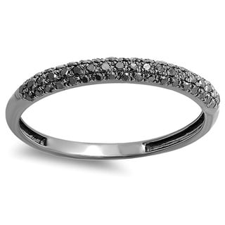 Black Rhodium-plated 14k White Gold 1/4ct TDW Black Diamond Stackable Anniversary Band