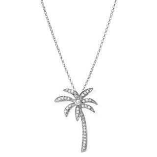Sterling Silver 1/5ct TDW Diamond Palm Tree Pendant (I-J ,I2-I3)