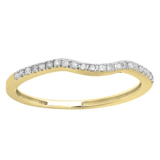 14k Gold 1/6ct TDW Round Diamond Wedding Ring Guard Band (I-J ,I2-I3)