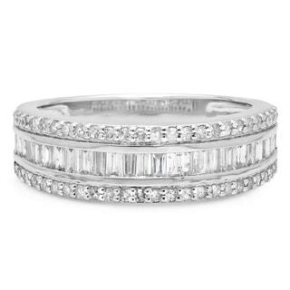 Elora 10k White Gold Men's 1ct TDW Round and Baguette Diamond Wedding Band (I-J ,I1-I2)