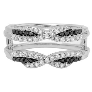 14k White Gold 1/2ct TDW Round Black and White Diamond Wedding Band Enhancer Guard Ring (H-I, I1-I2)