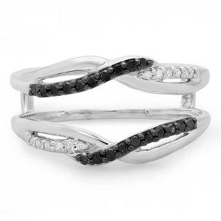14k White Gold 1/3ct TDW Black and White Diamond Wedding Band Swirl Guard Double Ring (H-I, I1-I2)