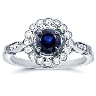 Annello by Kobelli 14k White Gold Round-cut Sapphire and 1/4ct TDW Diamond Art Deco Flower Engagemen