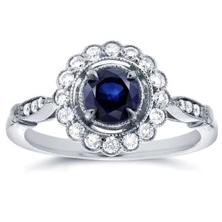 Annello 14k White Gold Round-cut Sapphire and 1/4ct TDW Diamond Art Deco Flower Engagement Ring (G-H, I1-I2)