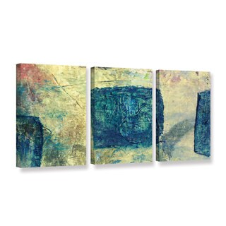 ArtWall Elena Ray ' Blue Golds 3 Piece ' Gallery-Wrapped Canvas Set