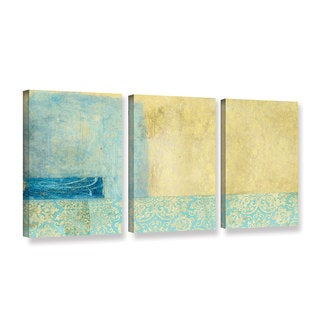 ArtWall Elena Ray ' Gold And Blue Banner 3 Piece ' Gallery-Wrapped Canvas Set
