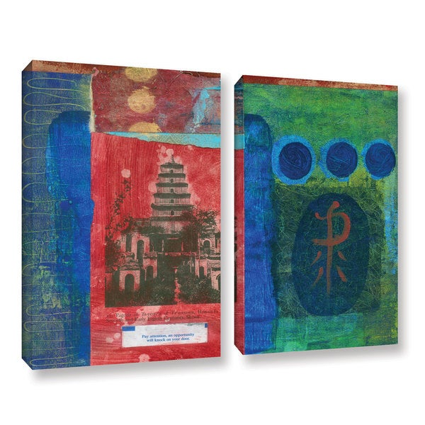 ArtWall Elena Ray ' Good Fortune Pagoda 2 Piece ' Gallery-Wrapped Canvas Set - Multi