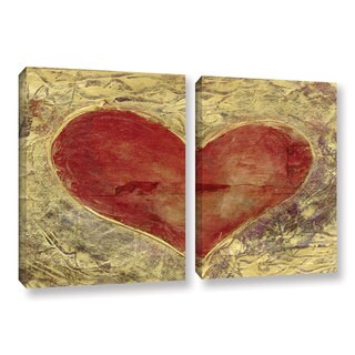 ArtWall Elena Ray ' Red Heart Of Gold 2 Piece ' Gallery-Wrapped Canvas Set