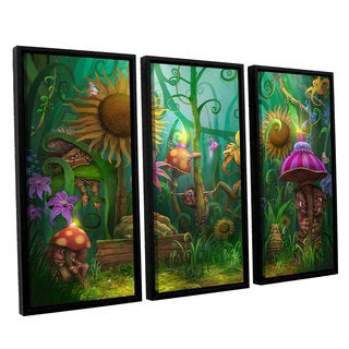 ArtWall Philip Straub 'Enchanted Forest' 3 Piece Floater Framed Canvas Set