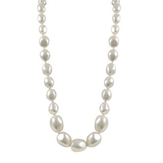 Luxiro Sterling Silver Graduated Nugget White Shell Pearl Strand Necklace