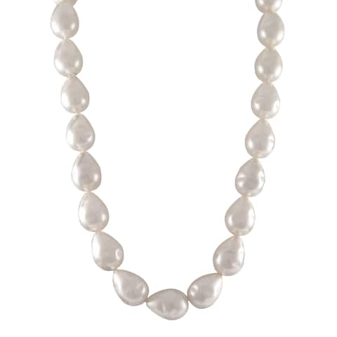 Luxiro Sterling Silver White Baroque Shell Pearl Strand Necklace