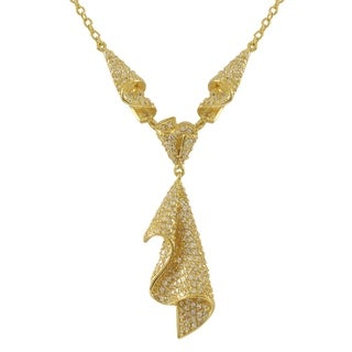 Luxiro Sterling Silver Gold Finish Pave Cubic Zirconia Cascade Statement Necklace