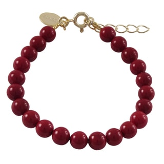 Luxiro Gold Finish Faux Coral Balls Children's Strand Bracelet