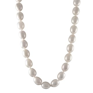 Luxiro Sterling Silver Matte White Oval Shell Pearl Strand Necklace